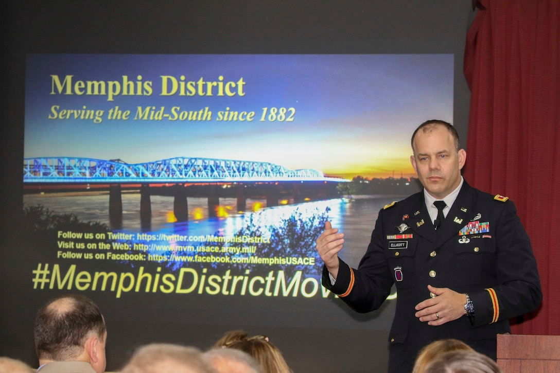 Col. Michael Ellicott, U.S. Army Corps of Engineers, Memphis District commander, speaks at the Mississippi River Commission's public hearing aboard the MV Mississippi in Memphis, Tenn., April 9, 2019.