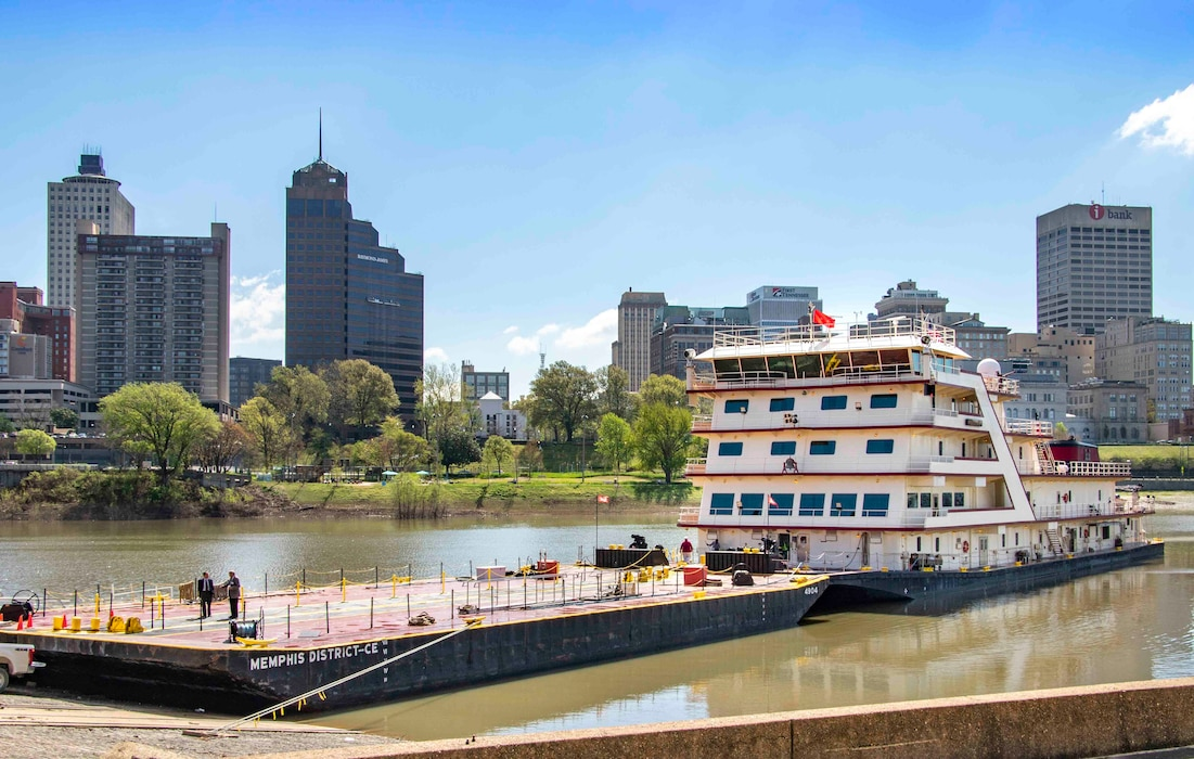 The MV Mississippi arrives in Memphis, Tennessee, April 9, 2019, for the Mississippi River Commission's annual high-water inspection and public hearing.