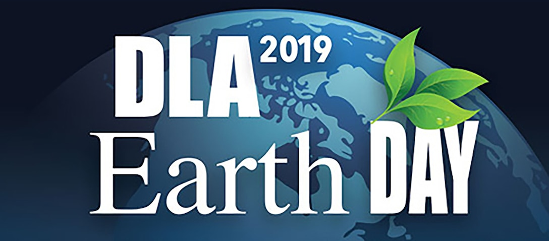 DLA Earth Day 2019 logo with globe and leaves.