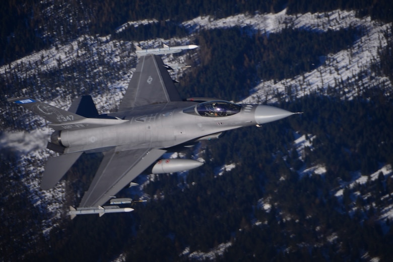 An F-16 Flying Falcon conducts an Operation Noble Eagle training mission, one of the Continental United States North American Aerospace Defense Region activities highlighted in the Partridge-Slemon Award citation given to CONR as the 2018 recipient of the award. (Courtesy photo)