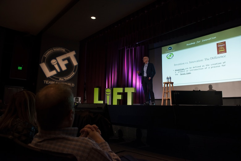 Chris Wood, Ten X Strategies L.L.C managing director, discusses the differences between invention and innovation during the 2019 Leaders Inspiring for Tomorrow summit in the base theater at Fairchild Air Force Base, Washington, April 19, 2019. LIFT required over 3 months of planning and coordination from a team of over 30 members throughout Fairchild, allowing it to not only be shared with the 400 attendees on base, but also to be live streamed and loaded onto the Defense Visual Information Distribution System, DVIDS, for those who were unable to attend. (U.S Air Force photo by Airman 1st Class Lawrence Sena)