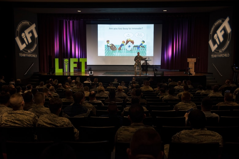 U.S. Air Force Maj. Mark Watson, 92nd Operations Group chief of training, speaks during the 2019 Leaders Inspiring for Tomorrow summit in the base theater at Fairchild Air Force Base, Washington, April 19, 2019. The 2019 LIFT summit shifted its focus from its 2018 theme of developing leadership skills, to developing and promoting innovation. (U.S. Air Force photo by Airman 1st Class Lawrence Sena)