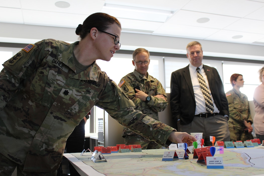 Philly District Commander Lt. Col. Kristen Dahle (left) takes part in a hurricane exercise in Baltimore District's Emergency Operations Center, April 18, 2019 with NAD and district commanders.