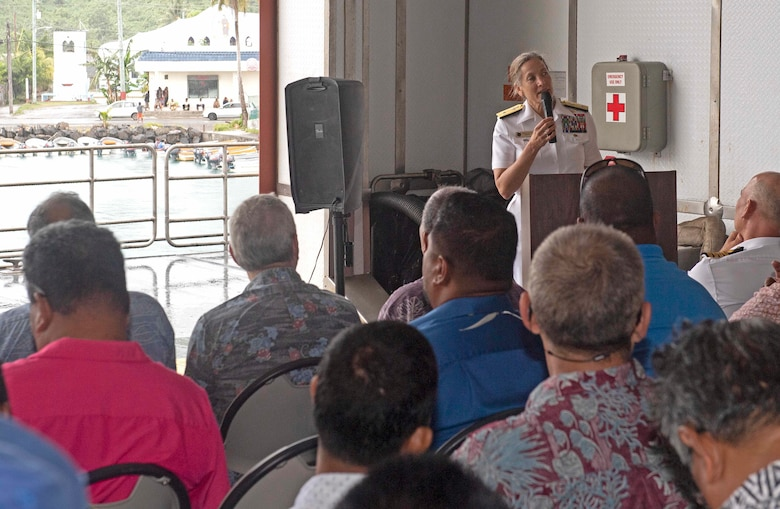 CHUUK, Federated States of Micronesia (April 25, 2019) U.S. Navy Rear Adm. Shoshana Chatfield, Commander, Joint Region Marianas, gives remarks at the closing ceremony aboard the Military Sealift Command expeditionary fast transport ship USNS Brunswick (T-EPF 6), strengthening strategic partnerships during Pacific Partnership 2019. Pacific Partnership, now in its 14th iteration, is the largest annual multinational humanitarian assistance and disaster relief preparedness mission conducted in the Indo-Pacific.