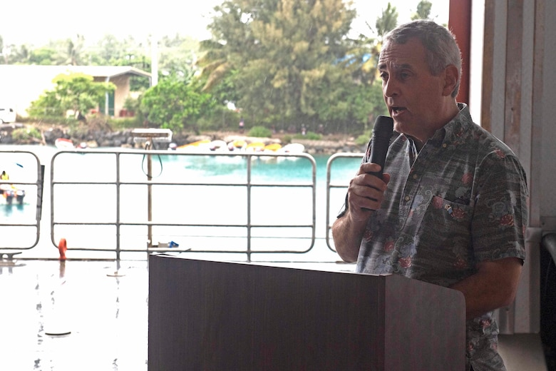 CHUUK, Federated States of Micronesia (April 25, 2019) The Honorable Robert Riley, U.S. Ambassador to the Federated States of Micronesia, gives remarks at the closing ceremony aboard the Military Sealift Command expeditionary fast transport ship USNS Brunswick (T-EPF 6), strengthening strategic partnerships during Pacific Partnership 2019. Pacific Partnership, now in its 14th iteration, is the largest annual multinational humanitarian assistance and disaster relief preparedness mission conducted in the Indo-Pacific.