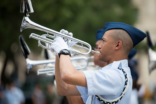 An Air Force basic military trainee, 321st Training Squadron, Joint Base San Antonio-Lackland Drum and Bugle Corps, performs during San Antonio's Fiesta Air Force Day at the Alamo, April 22, 2019. From its beginning in 1891, Fiesta has grown into an annual celebration that includes civic and military observances, street and river parades, exhibits, pilgrimages and memorials.