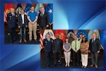 (upper left photo) DLA Energy Commander Air Force Brig. Gen. Albert Miller (far left) and Deputy Commander Guy Beougher (far right) stand with those employees present for earning their Defense Acquisition Workforce Improvement Act certifications in product, quality and manufacturing and (lower right photo from left) those who earned their DAWIA certifications in lifecycle logistics. Photo by Kelly Forst