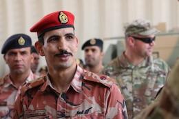 Maj. Mohammed Rashid Al Abri, Royal Army of Oman, smiles during the Heavy Equipment Transporter System Subject Matter Exchange II held at Sultan bin Safy Camp Shafa Oman, April 6-11, 2019.