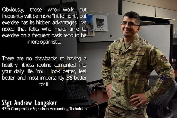 "Staff Sgt. Andrew Longaker, a 47th Comptroller Squadron accounting technician, discusses the importance of keeping all of the Comprehensive Airman Fitness pillars strong and stable. ""These pillars all rely on one another, meaning that when one pillar is weakened or destroyed, the other three pillars have to carry more weight,"" Longaker said. ""Eventually, one weakened pillar leads to four weakened pillars, damaging the integrity of any Airman.  Lower fitness levels can eventually lead to lower energy levels and failed PT Tests, which can begin to affect the Mental & Social pillars if they go unchecked."" (U.S. Air Force graphic by Senior Airman John A. Crawford)"
