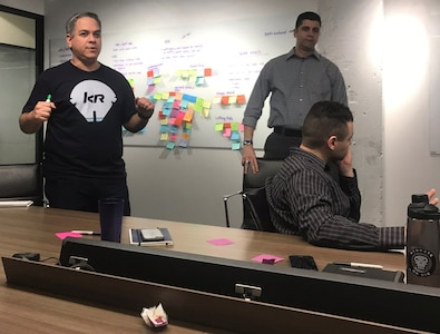 Team members for Magellan, including Airmen and Pivotal, Inc. employees, host a kick-off meeting for the project, which seeks to optimize how the U.S. Air Force allocates mobility aircraft globally, at Pivotal, Inc. offices in Chicago April 8.