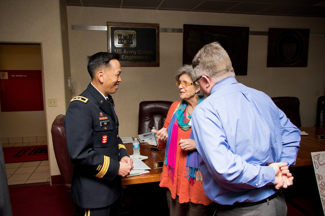 Maj. Gen. Mark Toy, U.S. Army Corps of Engineers Great Lakes and Ohio River Division commander and Mississippi River Commission member, partners with stakeholders during a public hearing in Rosedale, Mississippi, April 10, 2019.