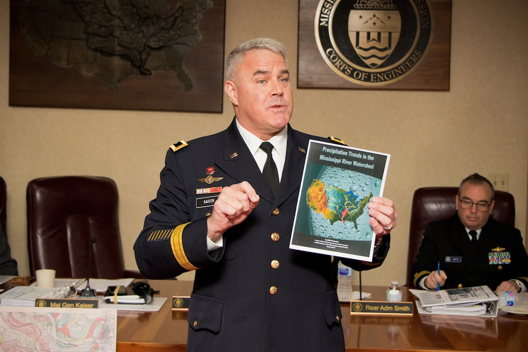 Maj. Gen. Richard Kaiser, president of the Mississippi River Commission, opened the Rosedale, Mississippi, public hearing aboard the Motor Vessel MISSISSIPPI, April 9, 2019, by explaining current precipitation trends.