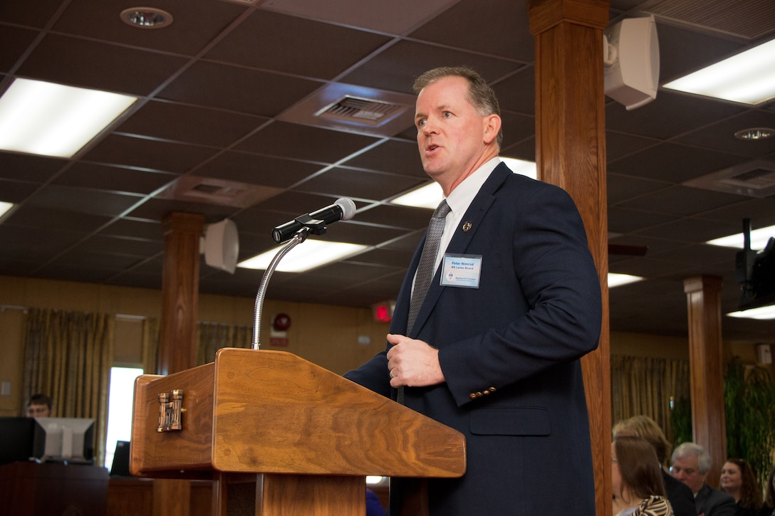 Peter Nimrod, with the Mississippi Levee Board, speaks during the Mississippi River Commission's public hearing in Rosedale, Mississippi, April 10, 2019.
