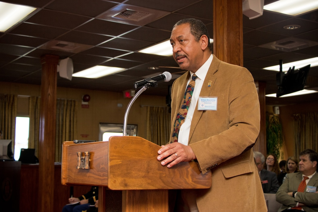 Milton Chambliss, with the Claiborne County Port Commission, gives testimony to the Mississippi River Commission (MRC) aboard the MV Mississippi in Rosedale, Mississippi, April 10, 2019.