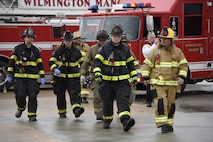 Wilmington manor Firefighters arrive on scene to assist the 166th Civil Engineer Squadron Firefighters during Operation Blue Skywalker, April 10, 2019 at Delaware National Guard Base, Del. Wilmington Manor is one of the local authorities holding a coordinated response agreement with the 166th Airlift Wing. (U.S. Air Force photo by Mr. Mitch Topal)