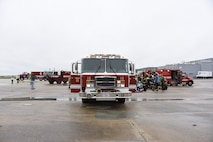 First response vehicles respond during Operation Blue Skywalker, April 10, 2019 at Delaware National Guard Base, Del. The 166th Civil Engineer Squadron Firefighters have an agreement with local authorities to assist in responding any time they are needed. (U.S. Air Force photo by Mr. Mitch Topal)