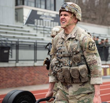A University of Utah Valley Army ROTC cadet participates in the functional fitness event during the 51st annual Sandhurst Military Skills Competition at the U.S. Military Academy at West Point, New York, April 12-13. The team was one of two representing 5th Brigade Army ROTC, headquartered at Joint Base San Antonio-Fort Sam Houston.