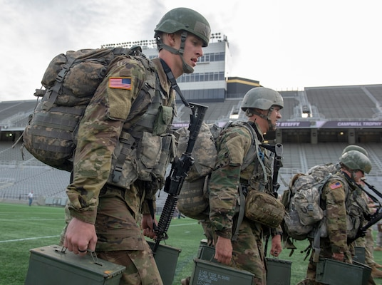 Tarleton State Army ROTC cadets carry weighted ammo cans during the Burden, the final event at the Sandhurst Military Skills Competition in Michie Stadium at the U.S. Military Academy at West Point, New York, April 12-13. The team was one of two representing 5th Brigade Army ROTC, headquartered at Joint Base San Antonio-Fort Sam Houston.