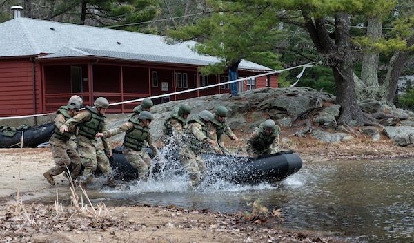 Tarleton State Army ROTC cadets rush to carry their zodiac boat into the water in the timed Zodiac Challenge event during the 51st annual Sandhurst Military Skills Competition at the U.S. Military Academy at West Point, New York, April 12-13. The team was one of two representing 5th Brigade Army ROTC, headquartered at Joint Base San Antonio-Fort Sam Houston.