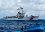 The crew of the Coast Guard Cutter Active, a 210-foot medium endurance Reliance-class cutter homeported in Port Angeles, Washington,interdicts more than 1 ton of cocaine from four suspected drug smugglers during a counter-narcotics patrol in the eastern Pacific Ocean, Friday, May 18, 2018. Cutters like Active routinely conduct operations from South America to the Bering Sea to perform defense operations, alien migrant interdiction, domestic fisheries protection, search and rescue, counter-narcotics and other Coast Guard missions at great distances from shore keeping threats far from the U.S. mainland.