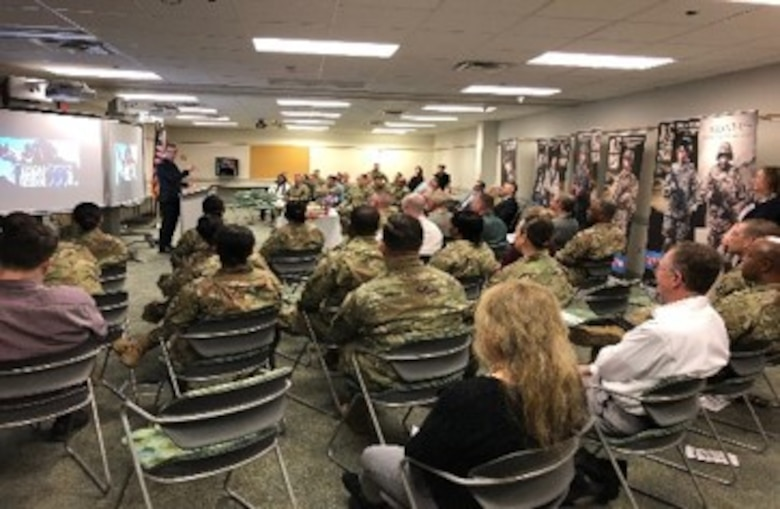The Hon. Jon Nehring, Mayor of the City of Marysville, speaks to Army Reserve Soldiers and civilians of the 364th Sustainment Command (Expeditionary), 7th Battalion, Army Reserve Careers Division, and National Guardsmen based in Marysville, Washington, during a brief ceremony honoring the Army Reserve on its 111th birthday, April 23, 2019.