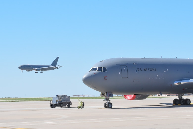 A KC-46A Pegasus lands April 20, 2019, at McConnell Air Force Base, Kan. This is the fifth KC-46 to be delivered to McConnell. It is the first Pegasus delivery to have an aircrew composed of both active duty and reserve pilots from the 22nd and 931st Air Refueling Wings. (U.S. Air Force photo by Airman 1st Class Alexi Myrick)