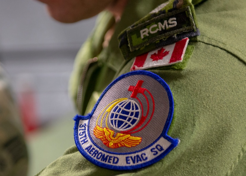 375th Armored Evactuation Squadron patch sits on uniform