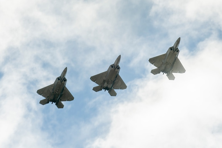 F-22 Raptors assigned to the 199th and 19th Fighter Squadrons arrive at Andersen Air Force Base, Guam, during exercise Resilient Typhoon, April 22, 2019.