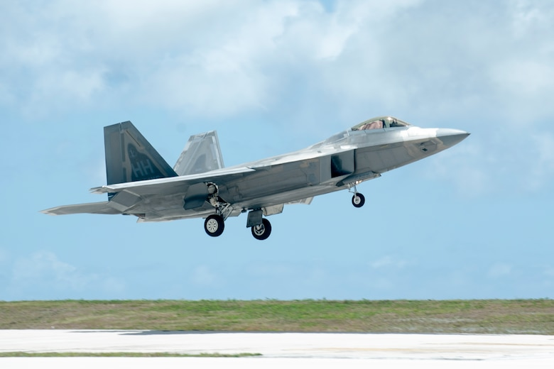 An F-22 Raptor, from Joint Base Pearl Harbor-Hickam, Hawaii, lands at Andersen Air Force Base, Guam, during exercise Resilient Typhoon, April 22, 2019.