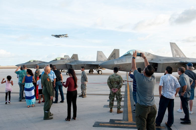 Saipan residents, to include government officials and first responders, attend a static display tour of F-22 Raptors at the Francisco C. Ada International Airport, Saipan, April 23, 2019.