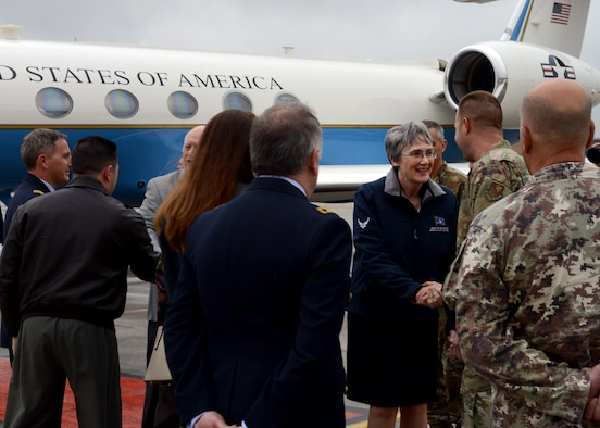 Secretary of the Air Force Heather Wilson visited with Wyvern Warriors at Aviano Air Base, Italy on April 24.
