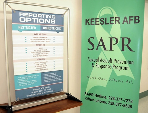 Sexual Assault Prevention & Response Program and Reporting Options banners  in Dolen Hall, Keesler Air Force Base, April 11, 2019.