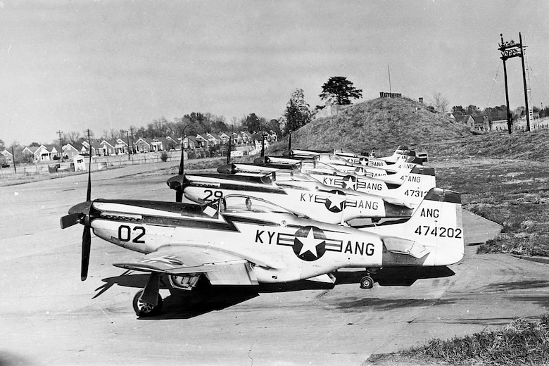 A P-51 Mustang aircraft, serial number of 44-74202, sits on the flight line of the Kentucky Air National Guard Base in Louisville, Ky., circa 1953-1956. The same aircraft, now restored, came home to fly in the 2019 Thunder Over Louisville air show on April 13. (Kentucky Air National Guard Historical Archives)