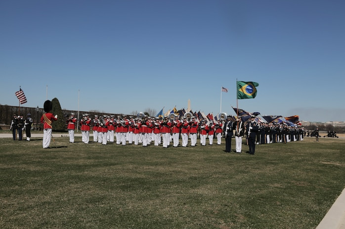 "On March 26, 2019, ""The President's Own"" U.S. Marine Band performed at an arrival ceremony hosted by acting Secretary of Defense Patrick Shanahan for Brazil's Defense Minister Fernando Azevedo d Silva. (U.S. Marine Corps photo by Master Sgt. Kristin duBois/released)"