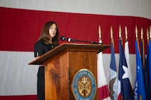 Second Lady of the United States Karen Pence speaks during a town hall event honoring active-duty spouses at Naval Station Norfolk, Norfolk, Virginia, April 24, 2019. The town hall was held to honor military spouses and children of deployed or deploying service members. During her visit, Second Lady Pence delivered care packages, spoke with spouses, and highlighted the programs and services that military service organizations such as the USO provide. (U.S. Marine Corps photo by Sgt. Jessika Braden/released)