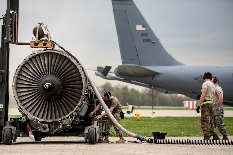 Airmen from the 121st Maintenance Group prepare a CFM-56 turbofan engine for shipment