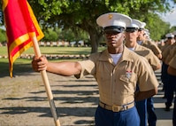 Private First Class Jeremiah D. Carter completed Marine Corps recruit training as the platoon honor graduate of Platoon 1037, Company C, 1st Recruit Training Battalion, Recruit Training Regiment, aboard Marine Corps Recruit Depot Parris Island, South Carolina, April 26, 2019. Carter was recruited by Gunnery Sergeant Jeremy F. Owens from Recruiting station Buford. (U.S. Marine Corps photo by Cpl. Jack A. E. Rigsby)