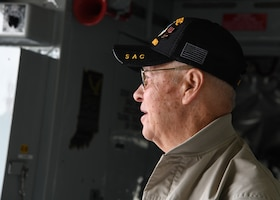 Master Sgt. Bill Fuselier, retired, looks at the cockpit of his former aircraft during a tour of a KC-135 Stratotanker, April 25, 2019 at Joint Base Andrews, Md. Fuselier is a Vietnam War veteran, Bronze Star recipient and former crew chief. He came to the 459th to visit the same aircraft he worked on when he was on active duty over 40 years ago. (U.S Air Force photo by Staff Sgt. Cierra Presentado)