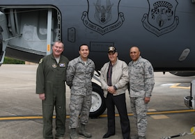 From left to right, Col. Douglas Gullion, 459th Air Refueling Wing commander, Tech Sgt. Kevin Crespo, 459th Aircraft Maintenance Squadron dedicated crew chief, Master Sgt. Bill Fuselier, retired, and Chief Master Sgt. Jose Velez, 459th ARW command chief, pose for a photo during a tour of a KC-135 Stratotanker, April 25, 2019 at Joint Base Andrews, Md. Fuselier is a Vietnam War veteran, Bronze Star recipient and former crew chief. He came to the 459th to visit the same aircraft he worked on when he was on active duty over 40 years ago. (U.S Air Force photo by Staff Sgt. Cierra Presentado)