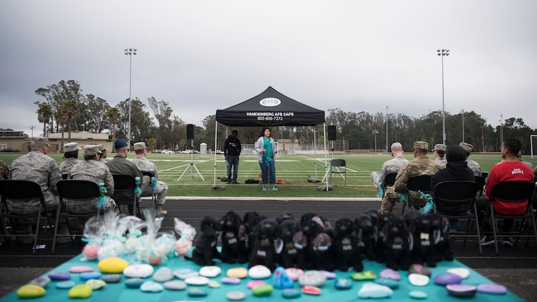 Teresa Loya, 30th Space Wing Sexual Assault Prevention and Response victim advocate, speaks during the Survivor Vigil April 19, 2019, at Vandenberg Air Force Base, Calif. The vigil, hosted by SAPR office, highlighted guest speaker's experiences with sexual assault and the stories of how they overcame their obstacles. The ceremony concluded with a walk around the track, allowing member's time to reflect on the ceremony. (U.S. Air Force photo by Airman 1st Class Hanah Abercrombie)