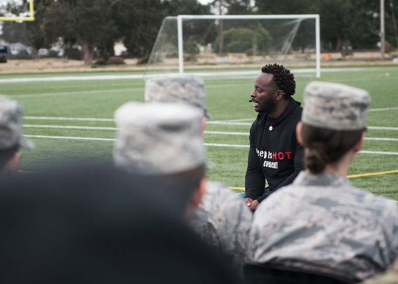 Edward Wilson, a guest speaker, shares a spoken word performance during Sexual Assault Prevention and Response's Survivor Vigil April 19, 2019, at Vandenberg Air Force Base, Calif. After his performance, Wilson shared a few short stories and scenarios about obstacles he has overcome regarding sexual assult. (U.S. Air Force photo by Airman 1st Class Hanah Abercrombie)