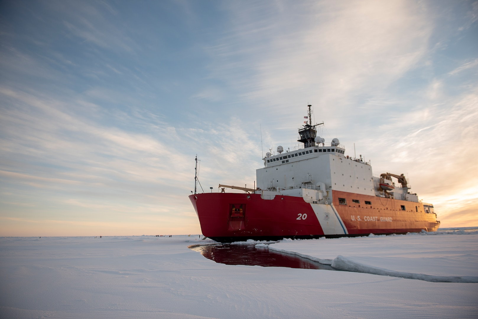 The U.S. Coast Guard Cutter Healy (WAGB-20) is in the ice Wednesday, Oct. 3, 2018, about 715 miles north of Barrow, Alaska, in the Arctic.  The Healy is in the Arctic with a team of about 30 scientists and engineers aboard deploying sensors and autonomous submarines to study stratified ocean dynamics and how environmental factors affect the water below the ice surface for the Office of Naval Research. The Healy, which is homeported in Seattle, is one of two ice breakers in U.S. service and is the only military ship dedicated to conducting research in the Arctic.
