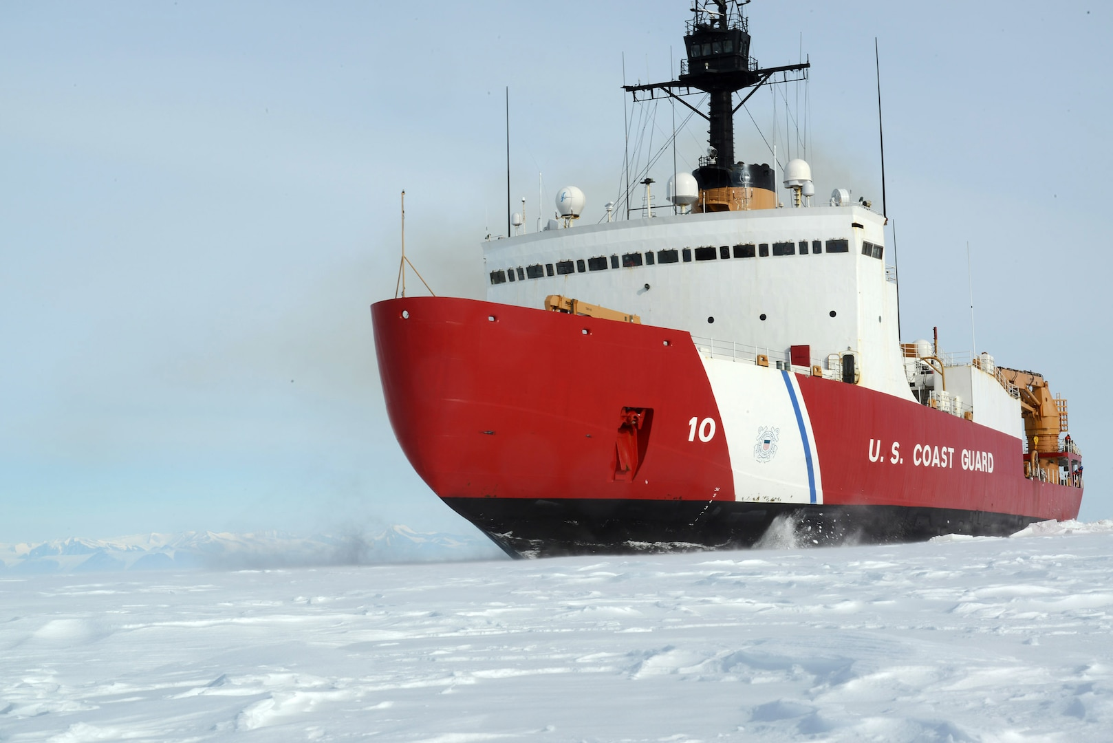 The Coast Guard Cutter Polar Star, with 75,000 horsepower and its 13,500-ton weight, is guided by its crew to break through Antarctic ice en route to the National Science Foundation's McMurdo Station, Jan. 15, 2017. The ship, which was designed more than 40 years ago, remains the world's most powerful non-nuclear icebreaker.