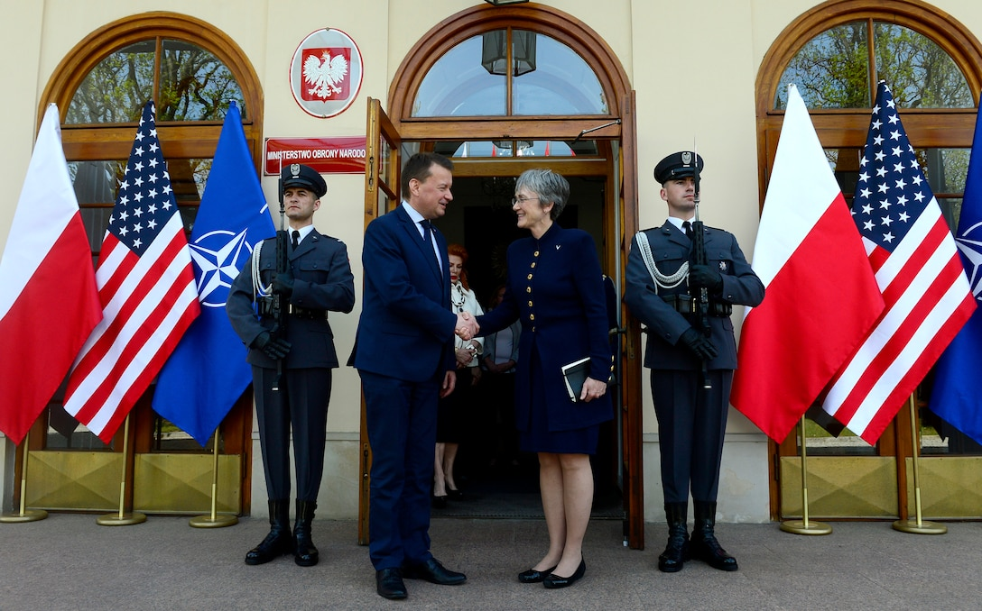 Secretary of the Air Force Heather Wilson greets the Polish Minister of Defense Mariusz Blaszczak in Warsaw, Poland, April 25, 2019. (U.S. Air Force photo by Staff Sgt. Rusty Frank)