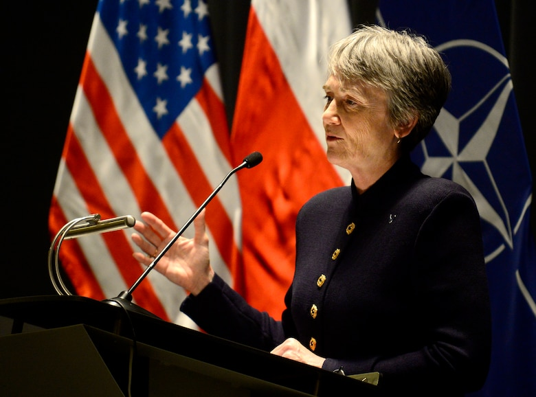 Secretary of the Air Force Heather Wilson speaks gives remarks at the War Studies University in Warsaw, Poland, April 25, 2019. During her remarks Wilson spoke about the importance why the U.S. and NATO allies must continue to strengthen deterrence efforts and adapt through improving readiness and responsiveness. (U.S. Air Force photo by Staff Sgt. Rusty Frank)