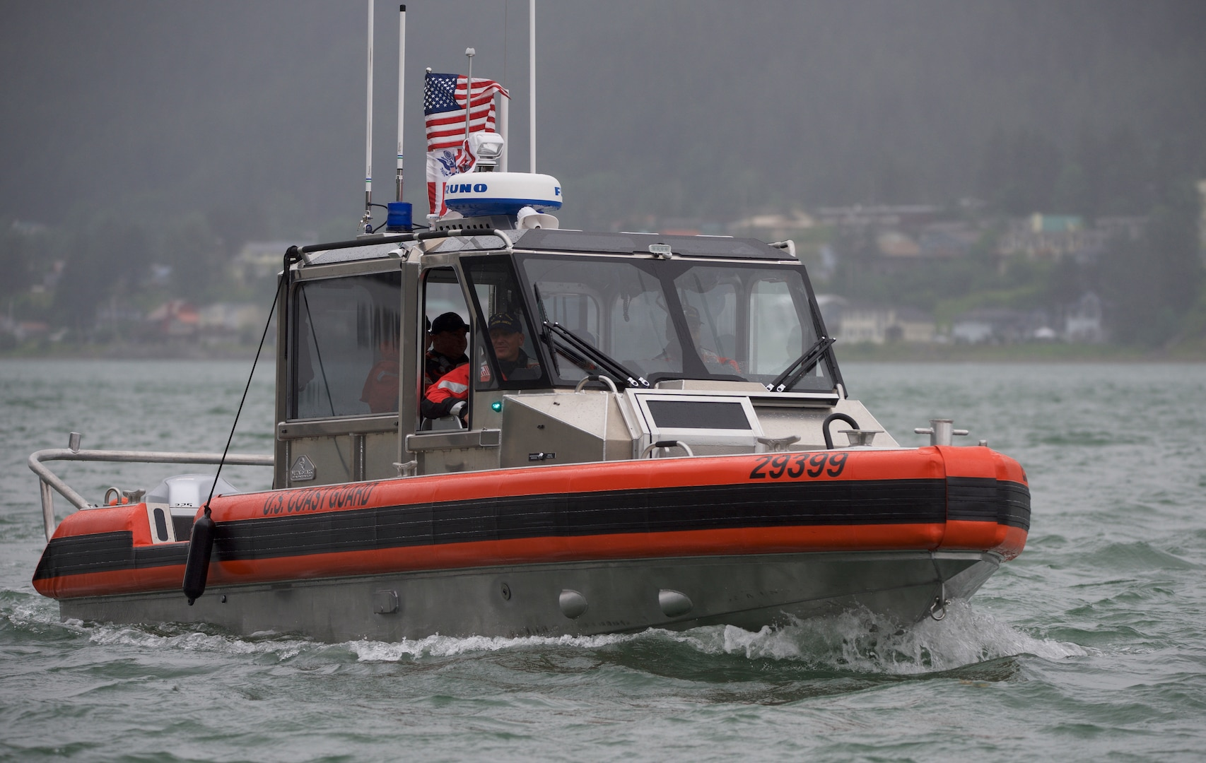 Members of Coast Guard Station Juneau test the capabilities of their new 29-foot Response Boat — SMALL II, in Juneau, Alaska, July 10, 2018. The RB-S II is an upgrade to the current 25-foot Response Boat — SMALL and is due to phase it out soon.
