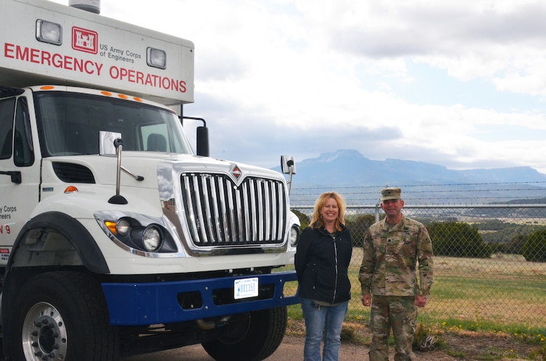 Trinidad Lake project office manager Kim Falen and District Commander Lt. Col. Larry Caswell stand by one of the ECCVs, April 17, 2019.