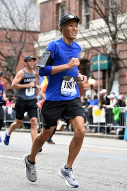 Lt. Col. (Dr.) Trevor Lim (left), 59th Medical Wing Radiation Oncology chief, completed the 2019 Boston Marathon, April 15, 2019, Boston Massachusetts. Lim completed the race in the top 28 percent of overall finishers with a run time of 3:24:49. (Courtesy photo)