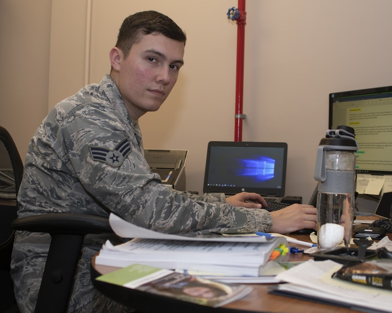 U.S. Air Force Senior Airman Michael Padgett, 81st Communications Squadron client systems technician, poses for a picture on Keesler Air Force Base, Mississippi, April 25, 2019. Padgett received the 2019 Military Volunteer of the Year award for the City of Biloxi, for his selfless dedication to volunteering in the local community. (U.S. Air Force photo by Airman 1st Class Spencer Tobler)