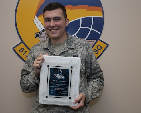 U.S. Air Force Senior Airman Michael Padgett, 81st Communications Squadron client systems technician, poses for a picture inside the Locker House on Keesler Air Force Base, Mississippi, April 25, 2019. Padgett received the 2019 Military Volunteer of the Year award for the City of Biloxi, for his selfless dedication to volunteering in the local community. (U.S. Air Force photo by Airman 1st Class Spencer Tobler)